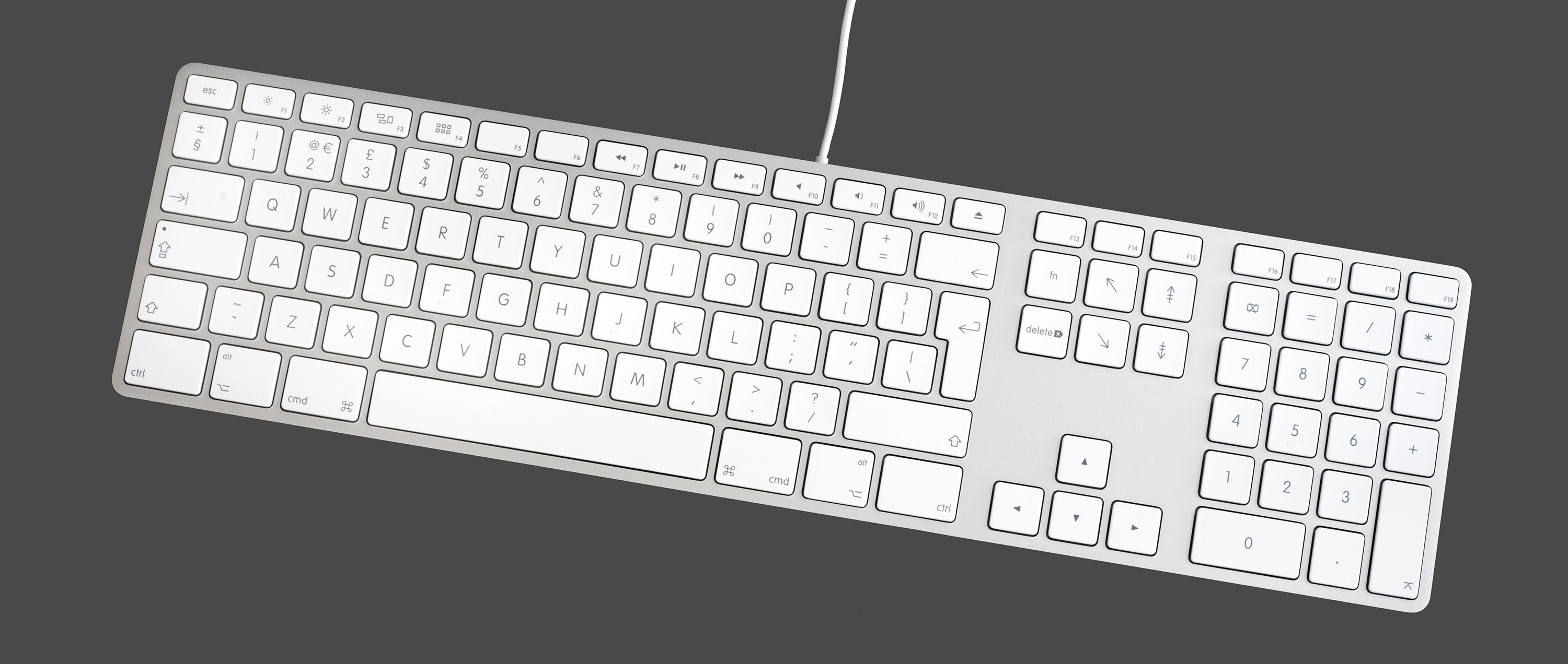 Apple keyboard - used under CC-BY-SA from https://commons.wikimedia.org/wiki/File:Apple_Keyboard_with_Numeric_Keyboard_9612.jpg